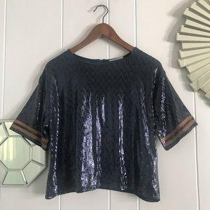 Zara Sequin Blue & Tan/Brown Stripe Crop Top M